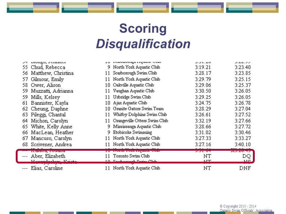 © Copyright 2010 - 2014 Ontario Swim Officials' Association Scoring Disqualification