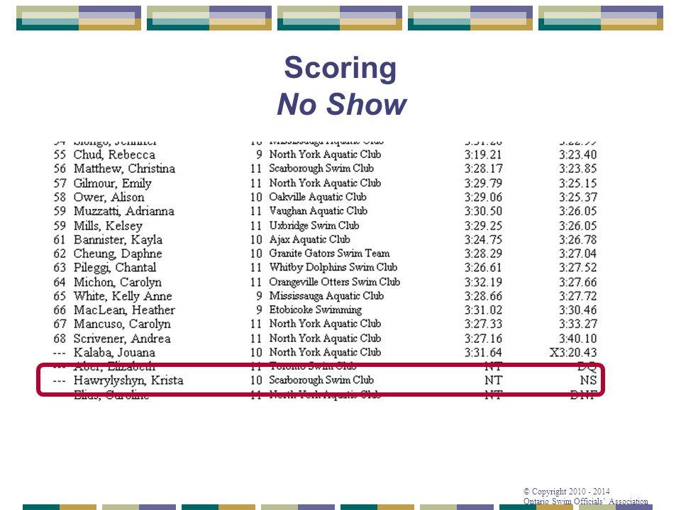 © Copyright 2010 - 2014 Ontario Swim Officials' Association Scoring No Show