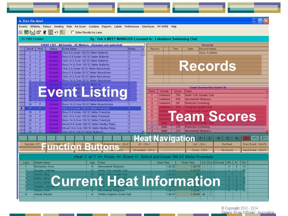 © Copyright 2010 - 2014 Ontario Swim Officials' Association Event Listing Current Heat Information Team Scores Records Function Buttons Heat Navigatio