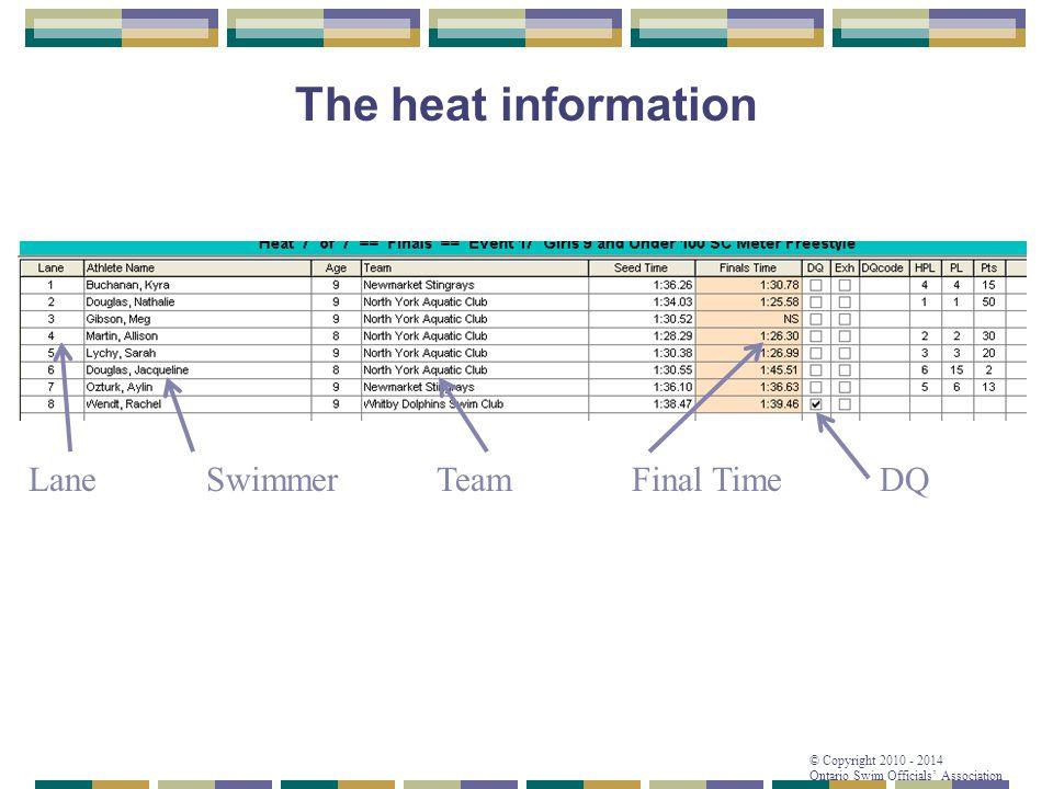 © Copyright 2010 - 2014 Ontario Swim Officials' Association The heat information SwimmerFinal TimeTeamLane DQ