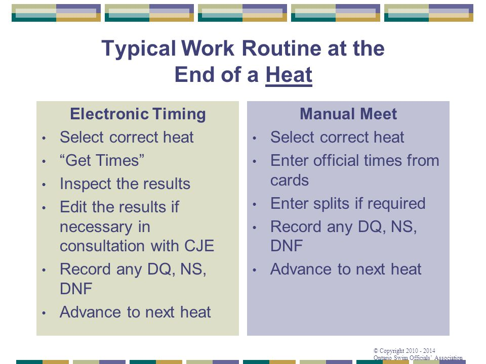 """© Copyright 2010 - 2014 Ontario Swim Officials' Association Typical Work Routine at the End of a Heat Electronic Timing Select correct heat """"Get Times"""