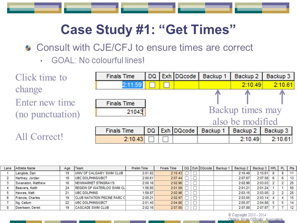 """© Copyright 2010 - 2014 Ontario Swim Officials' Association Case Study #1: """"Get Times"""" Consult with CJE/CFJ to ensure times are correct GOAL: No colou"""