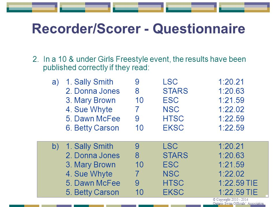 © Copyright 2010 - 2014 Ontario Swim Officials' Association Recorder/Scorer - Questionnaire 2. In a 10 & under Girls Freestyle event, the results have