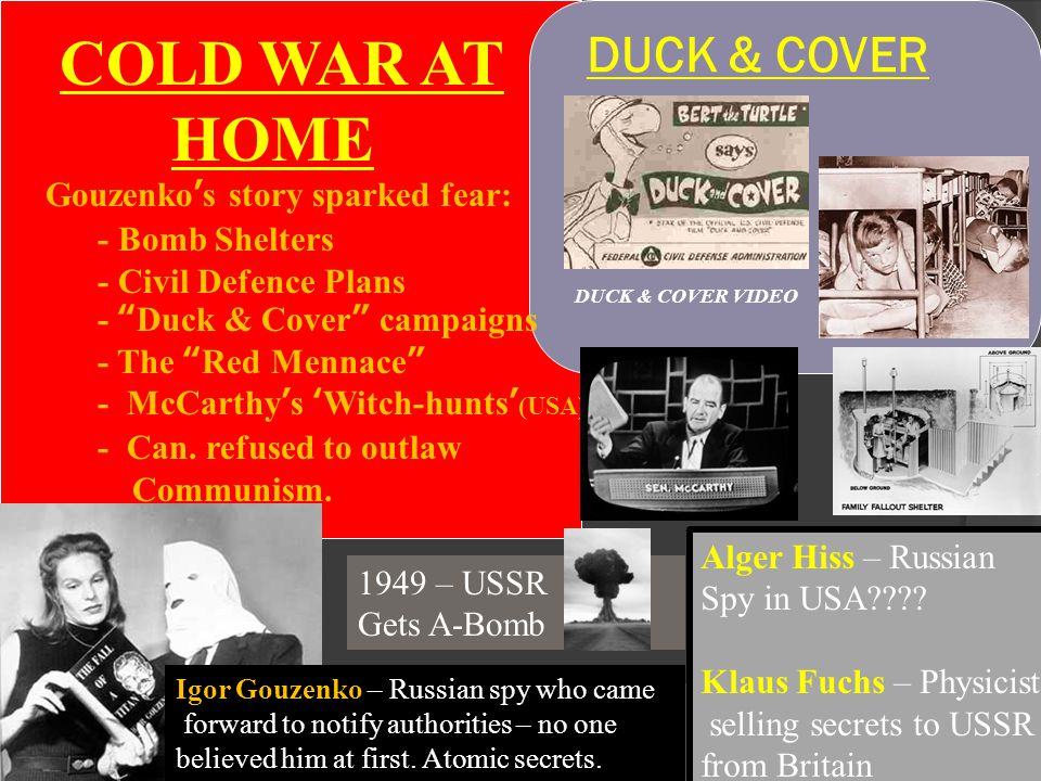 "DUCK & COVER DUCK & COVER VIDEO COLD WAR AT HOME Gouzenko's story sparked fear: - Bomb Shelters - Civil Defence Plans - ""Duck & Cover"" campaigns - The"