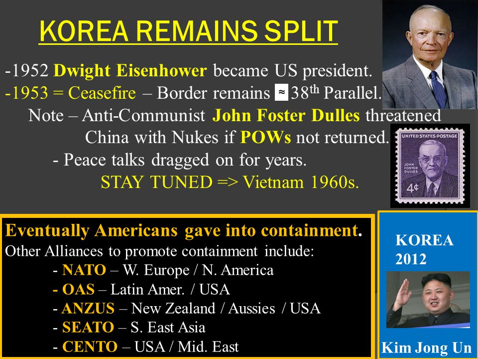 KOREA REMAINS SPLIT -1952 Dwight Eisenhower became US president. -1953 = Ceasefire – Border remains 38 th Parallel. Note – Anti-Communist John Foster