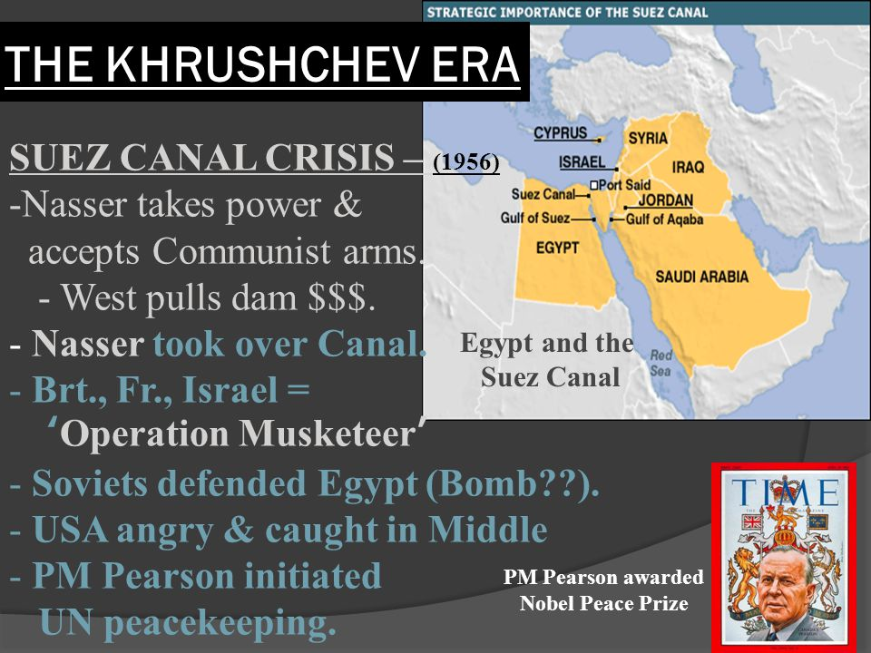 SUEZ CANAL CRISIS – (1956) -Nasser takes power & accepts Communist arms. - West pulls dam $$$. - Nasser took over Canal. - Brt., Fr., Israel = 'Operat