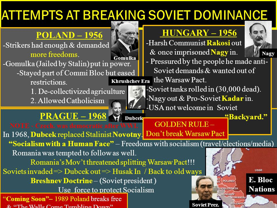 ATTEMPTS AT BREAKING SOVIET DOMINANCE POLAND – 1956 -Strikers had enough & demanded more freedoms. -Gomulka (Jailed by Stalin) put in power. -Stayed p