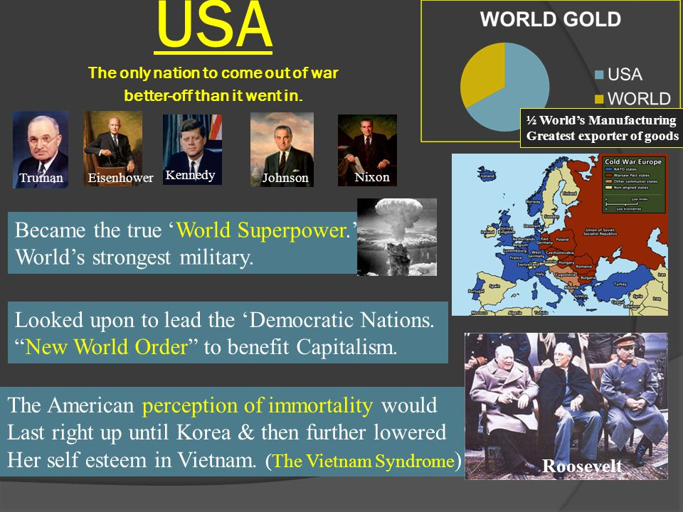 Became the true 'World Superpower.' World's strongest military. USA The only nation to come out of war better-off than it went in. Looked upon to lead