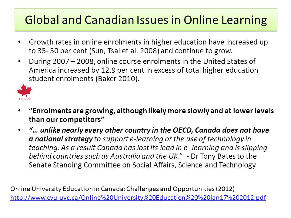 Global and Canadian Issues in Online Learning Growth rates in online enrolments in higher education have increased up to 35- 50 per cent (Sun, Tsai et al.