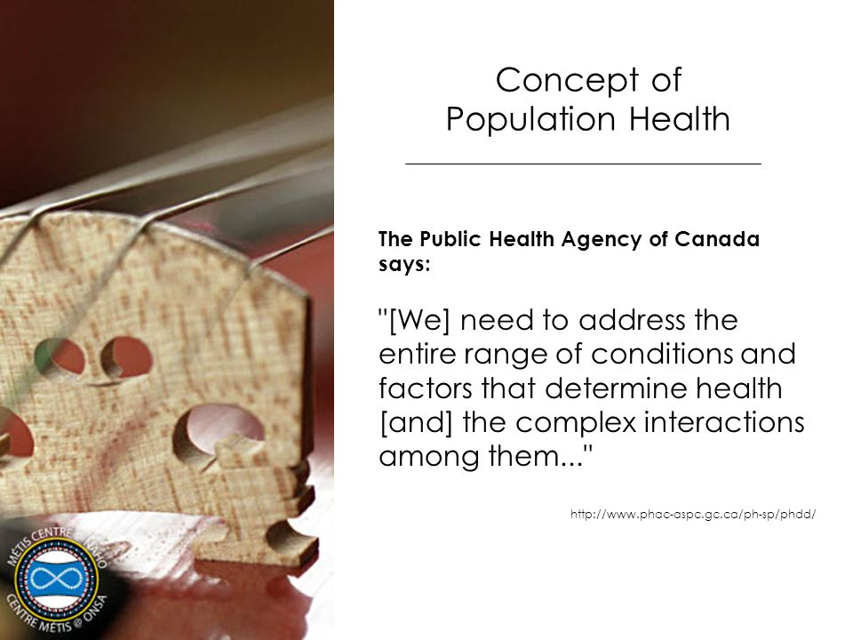 Concept of Population Health The Public Health Agency of Canada says: