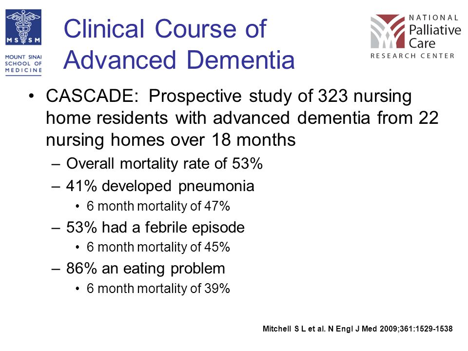 Clinical Course of Advanced Dementia CASCADE: Prospective study of 323 nursing home residents with advanced dementia from 22 nursing homes over 18 mon