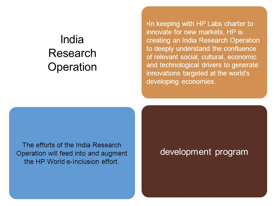 In keeping with HP Labs charter to innovate for new markets, HP is creating an India Research Operation to deeply understand the confluence of relevant social, cultural, economic and technological drivers to generate innovations targeted at the world's developing economies.