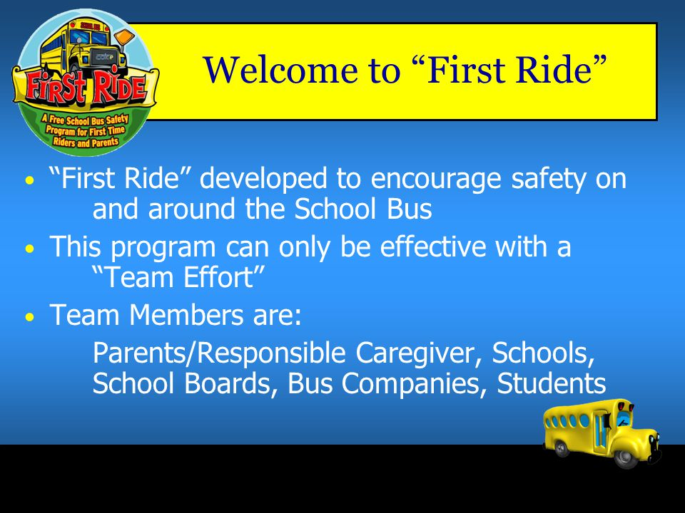 "Welcome to the ""First Ride"" Program Daily routes to and from school total 363,000 kilometers – that's 9 times around the Earth 9 x"