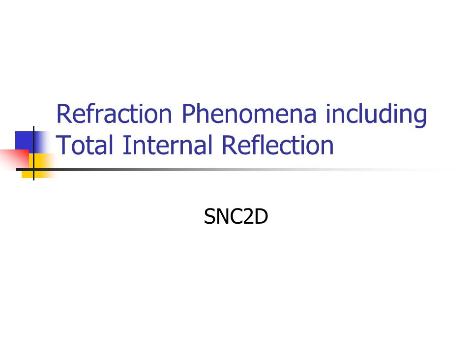 Total Internal Reflection (TIR) If the light is incident at an angle larger than this critical angle  c, total internal reflection will occur.