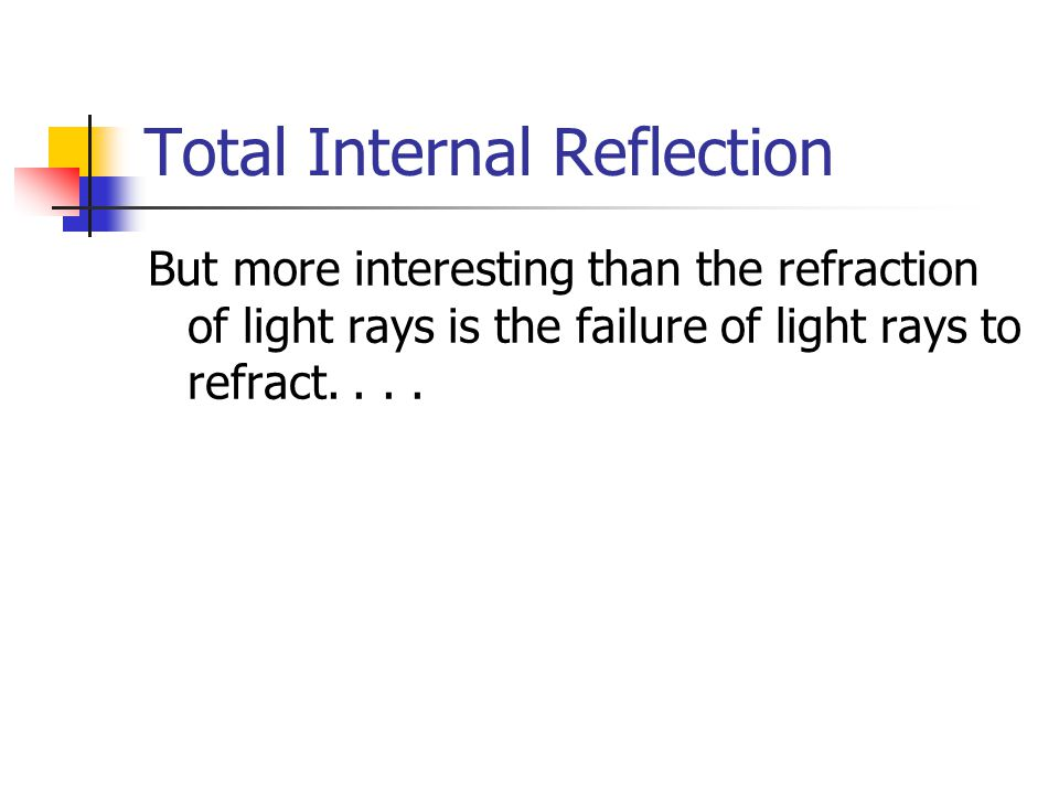 Total Internal Reflection (TIR) Recall that if a ray is travelling from a less- dense material to a more-dense material, it will bend towards the normal and if travelling from a more-dense material to a less-dense material it will bend away: