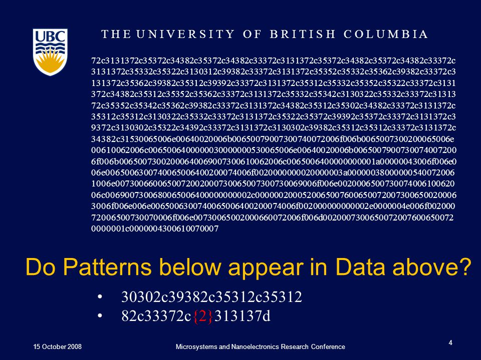 T H E U N I V E R S I T Y O F B R I T I S H C O L U M B I A Do Patterns below appear in Data above.