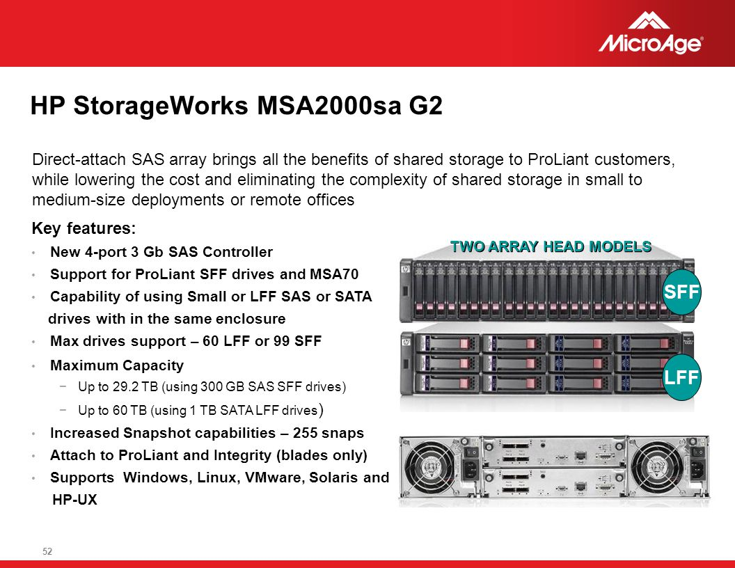 © 2006 MicroAge 52 HP StorageWorks MSA2000sa G2 Direct-attach SAS array brings all the benefits of shared storage to ProLiant customers, while lowerin