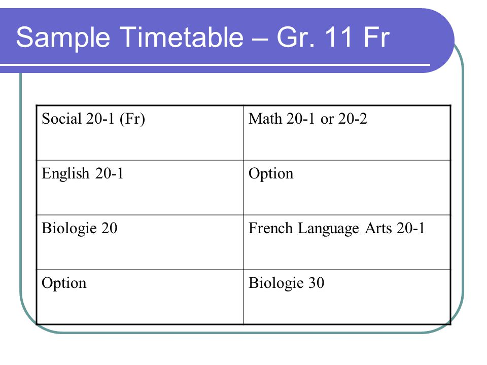 Sample Timetable – Gr.