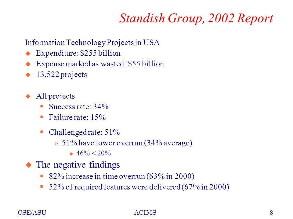 CSE/ASU3ACIMS Standish Group, 2002 Report Information Technology Projects in USA u Expenditure: $255 billion u Expense marked as wasted: $55 billion u 13,522 projects u All projects  Success rate: 34%  Failure rate: 15%  Challenged rate: 51% »51% have lower overrun (34% average) u 46% < 20% u The negative findings  82% increase in time overrun (63% in 2000)  52% of required features were delivered (67% in 2000)