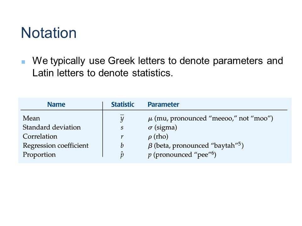 Notation We typically use Greek letters to denote parameters and Latin letters to denote statistics.