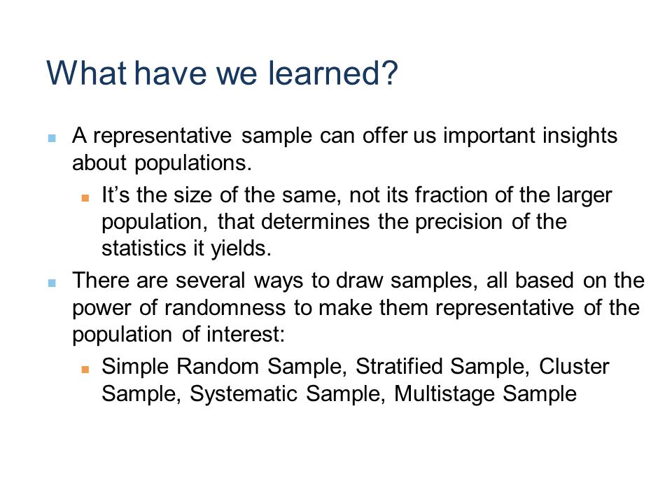 What have we learned. A representative sample can offer us important insights about populations.