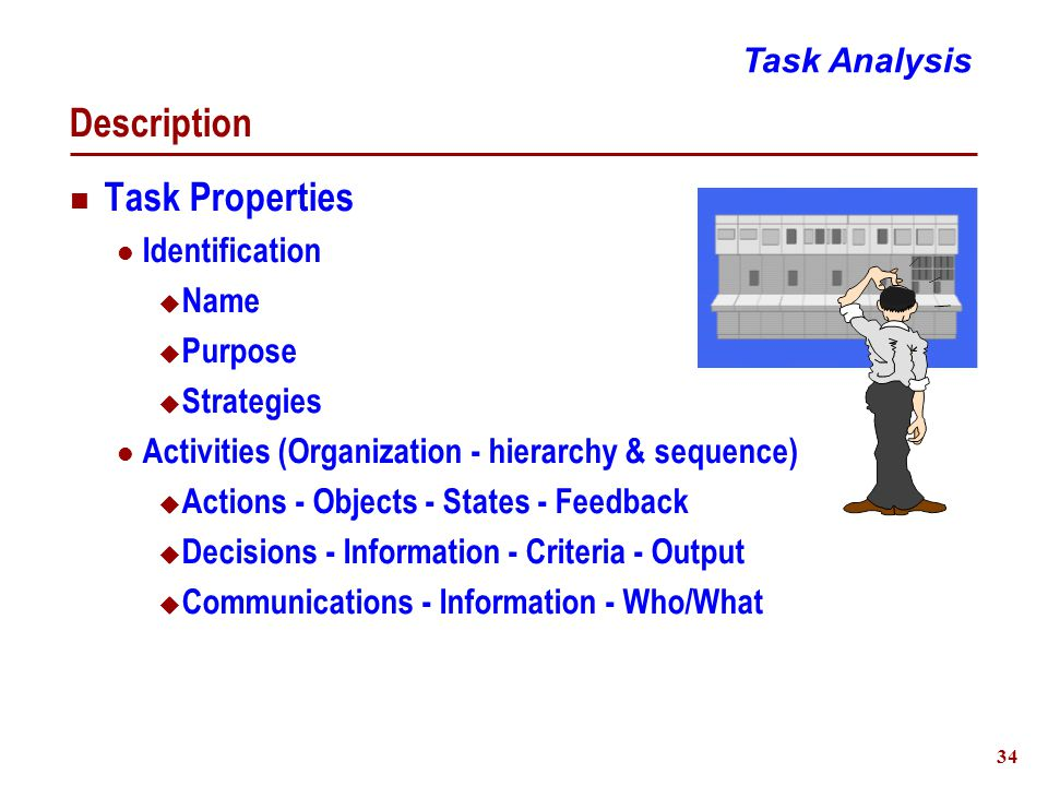 34 Description Task Properties Identification  Name  Purpose  Strategies Activities (Organization - hierarchy & sequence)  Actions - Objects - States - Feedback  Decisions - Information - Criteria - Output  Communications - Information - Who/What Task Analysis