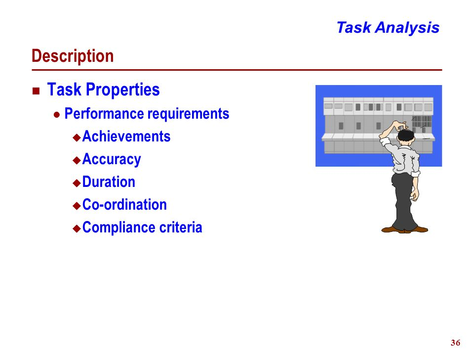 36 Description Task Properties Performance requirements  Achievements  Accuracy  Duration  Co-ordination  Compliance criteria Task Analysis