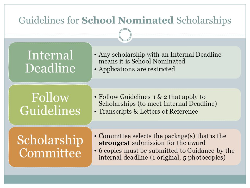 Guidelines for School Nominated Scholarships Any scholarship with an Internal Deadline means it is School Nominated Applications are restricted Intern
