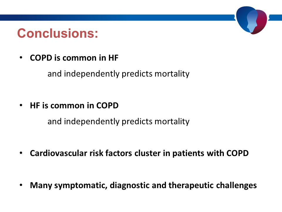 Conclusions: COPD is common in HF and independently predicts mortality HF is common in COPD and independently predicts mortality Cardiovascular risk factors cluster in patients with COPD Many symptomatic, diagnostic and therapeutic challenges