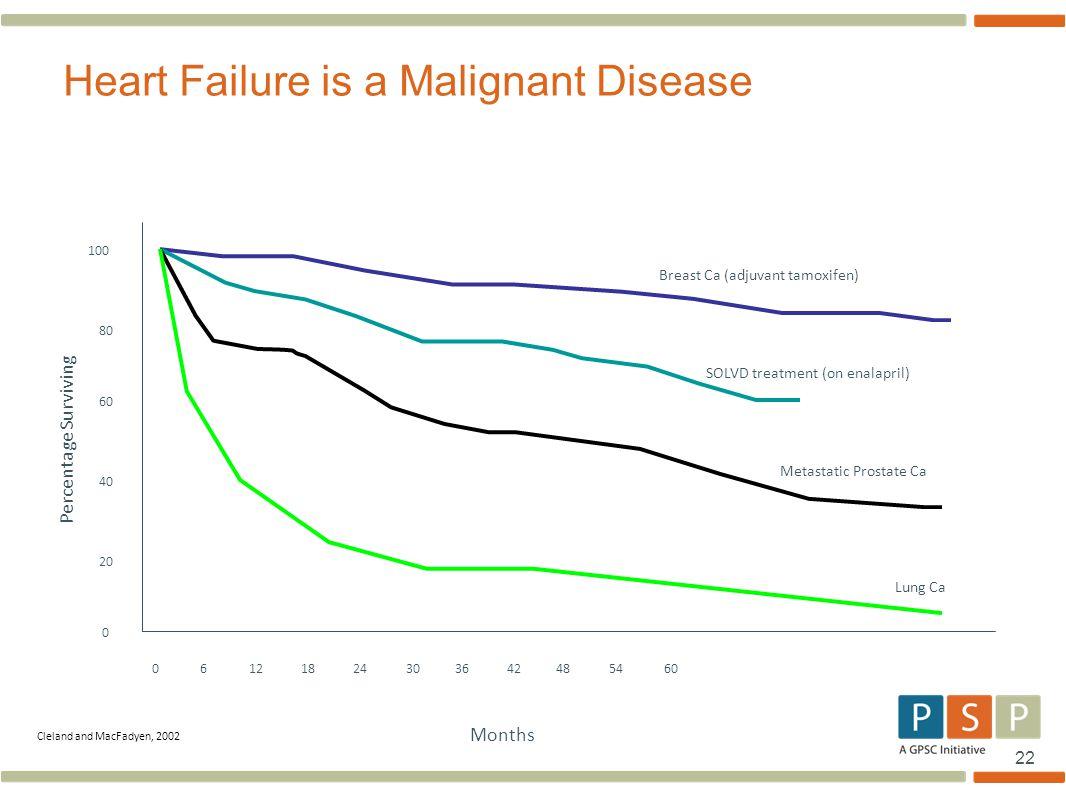 22 Heart Failure is a Malignant Disease 0 6 12 18 24 30 36 42 48 54 60 0 20 40 60 80 100 Breast Ca (adjuvant tamoxifen) Months Percentage Surviving Cl