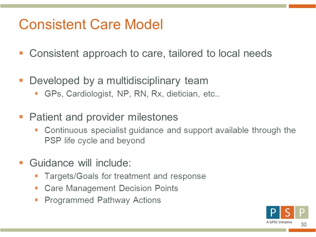 30  Consistent approach to care, tailored to local needs  Developed by a multidisciplinary team  GPs, Cardiologist, NP, RN, Rx, dietician, etc.. 