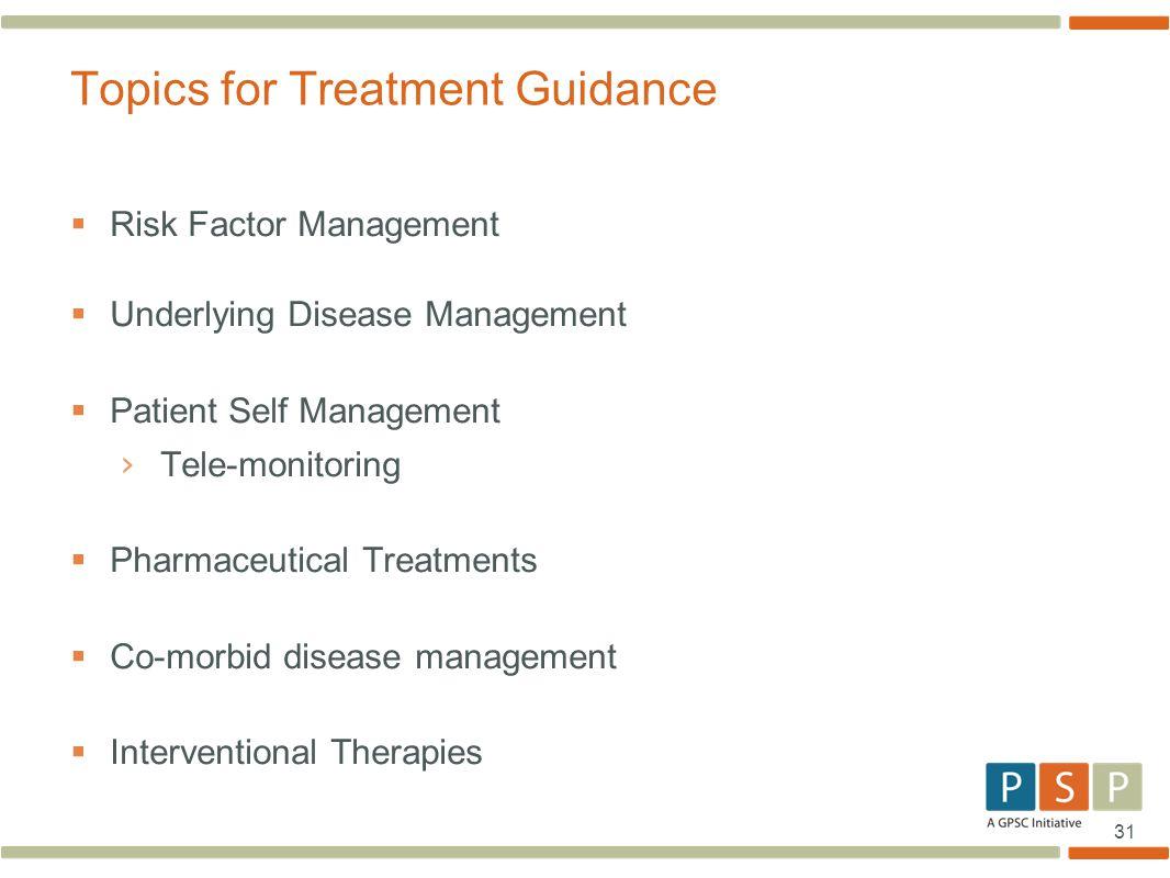 31  Risk Factor Management  Underlying Disease Management  Patient Self Management › Tele-monitoring  Pharmaceutical Treatments  Co-morbid diseas