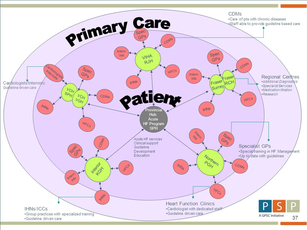 37 Cardiologists/Internists Guideline driven care Provincial Hub: Acute HF Program SPH VIHA RJH HFCs CDMs Intern ists IHNs Spec GPs Interior KGH HFCs