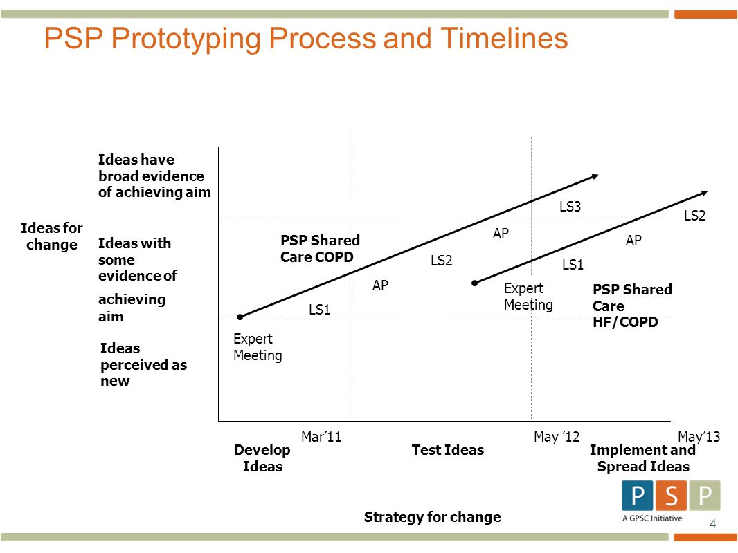 4 PSP Prototyping Process and Timelines Ideas have broad evidence of achieving aim Develop Ideas Implement and Spread Ideas PSP Shared Care COPD LS1 A