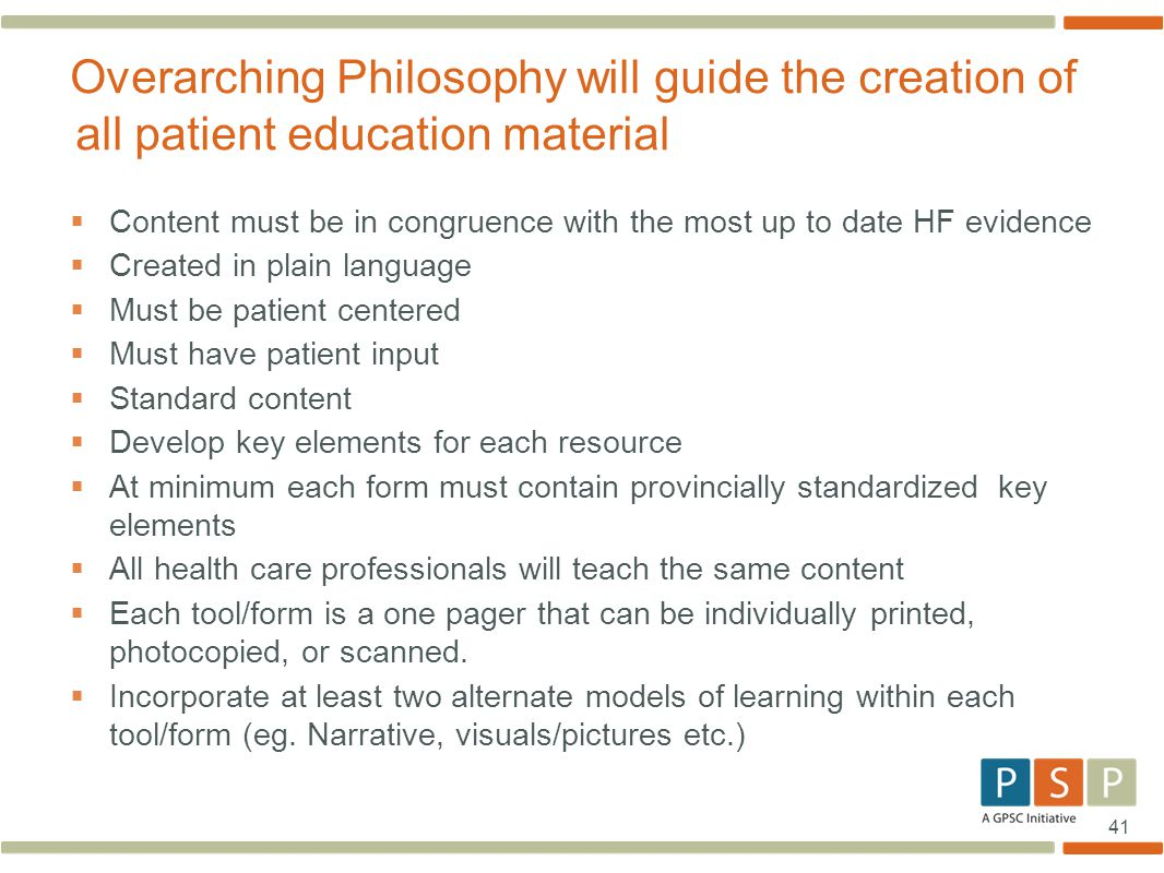41  Content must be in congruence with the most up to date HF evidence  Created in plain language  Must be patient centered  Must have patient inp