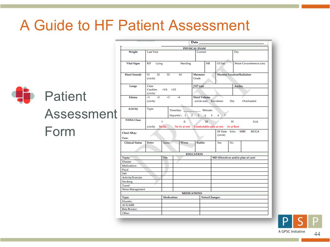 44 Patient Assessment Form A Guide to HF Patient Assessment