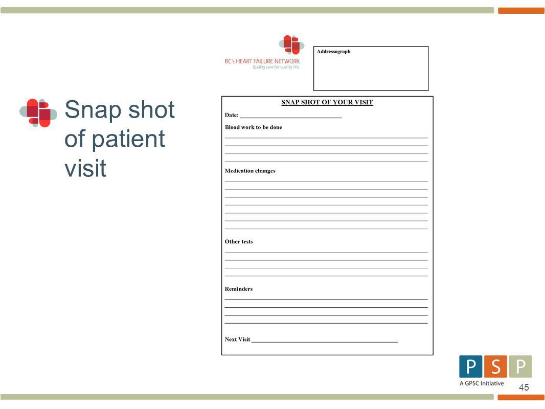 45 Snap shot of patient visit