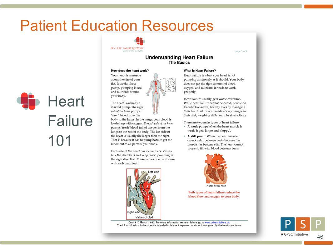 46 Heart Failure 101 Patient Education Resources