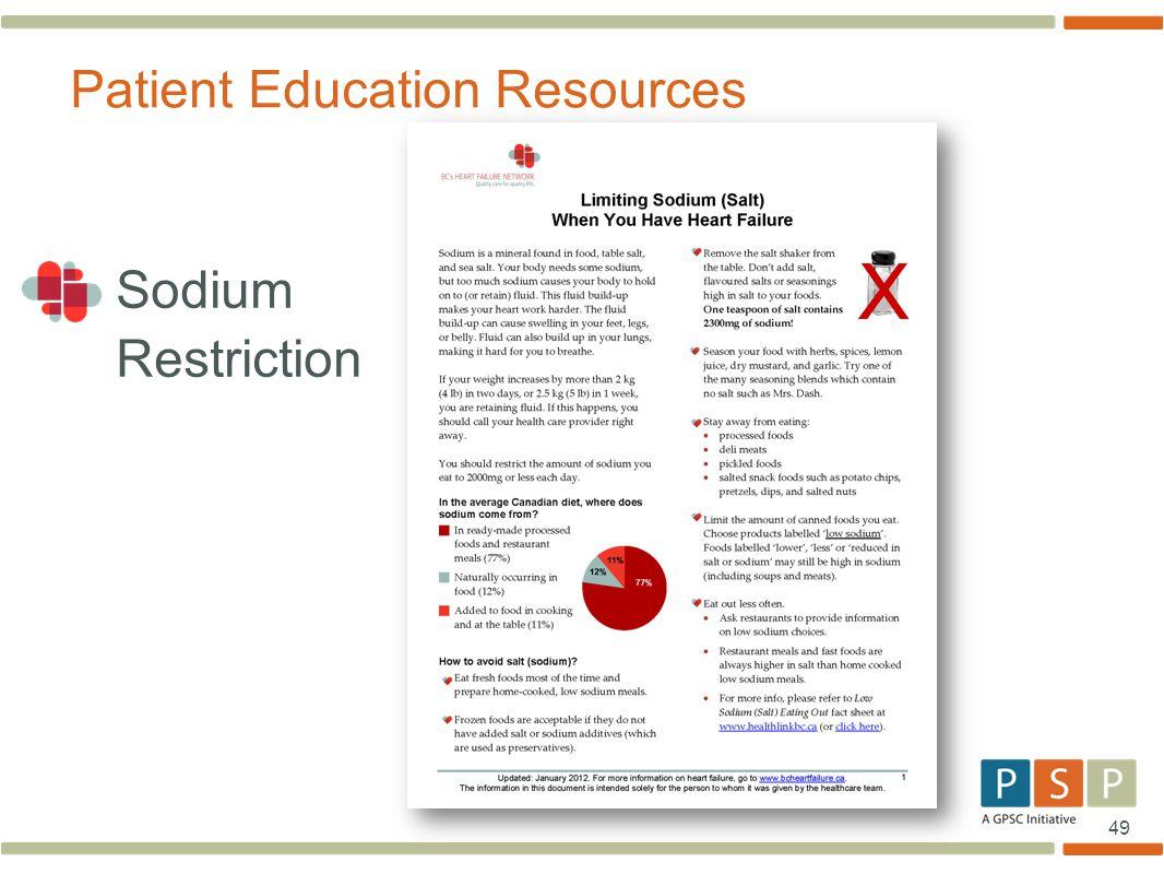 49 Sodium Restriction Patient Education Resources