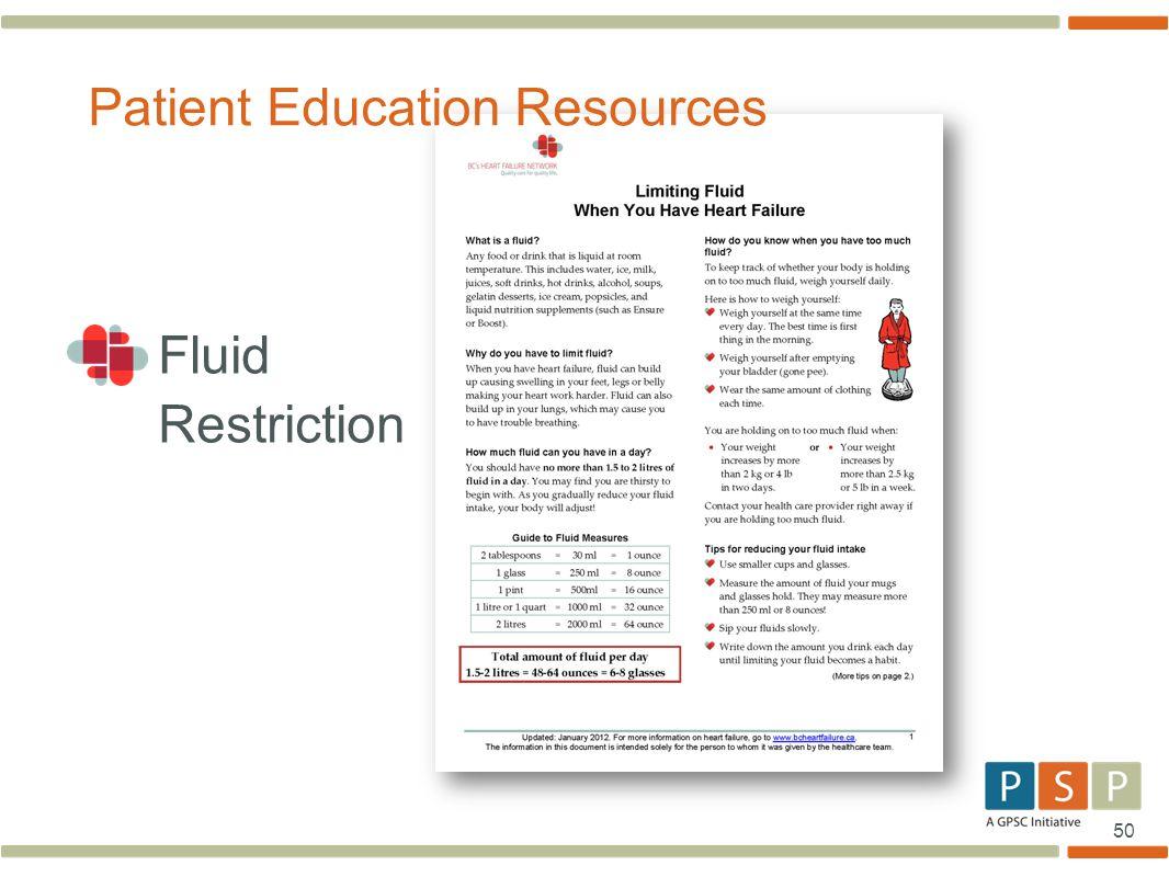 50 Fluid Restriction Patient Education Resources