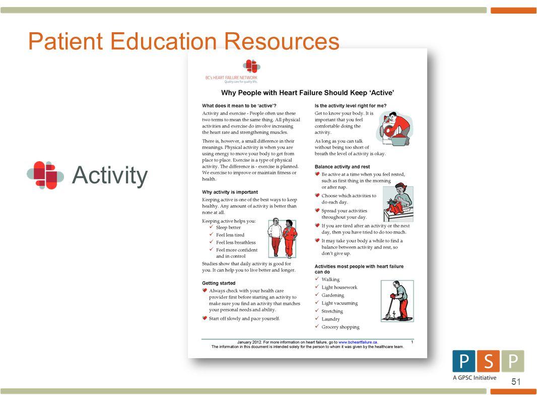 51 Activity Patient Education Resources