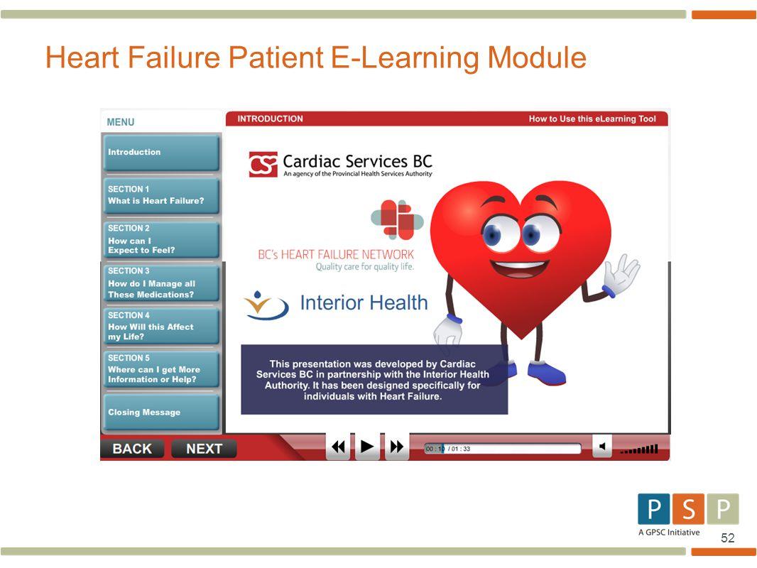 52 Heart Failure Patient E-Learning Module