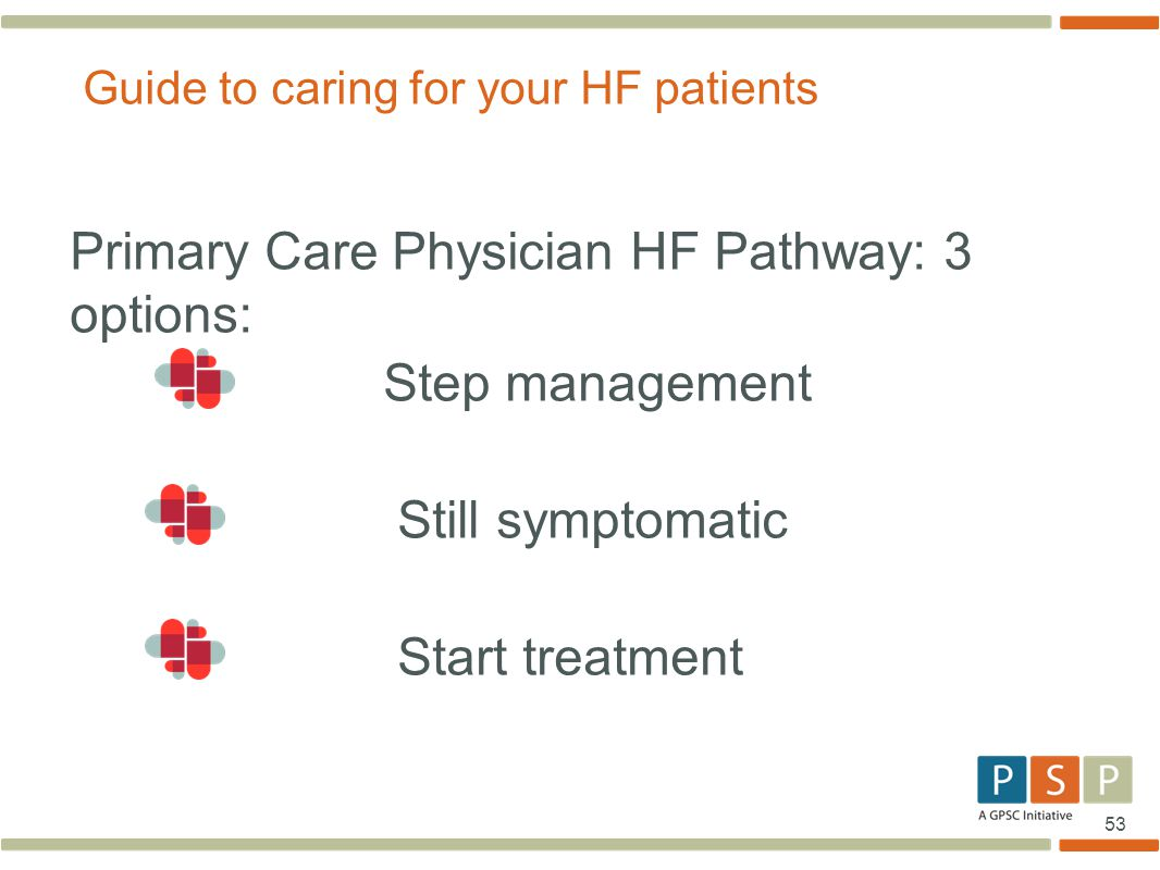 53 Primary Care Physician HF Pathway: 3 options: Step management Still symptomatic Start treatment Guide to caring for your HF patients