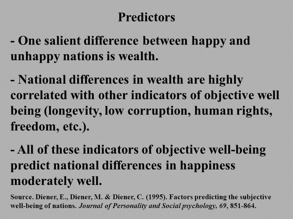 Relationship of Wealth and Related Indicators with Happiness StudyCorrelation Cantril (1965).67 Veenhoven (1991).84 Diener et al.