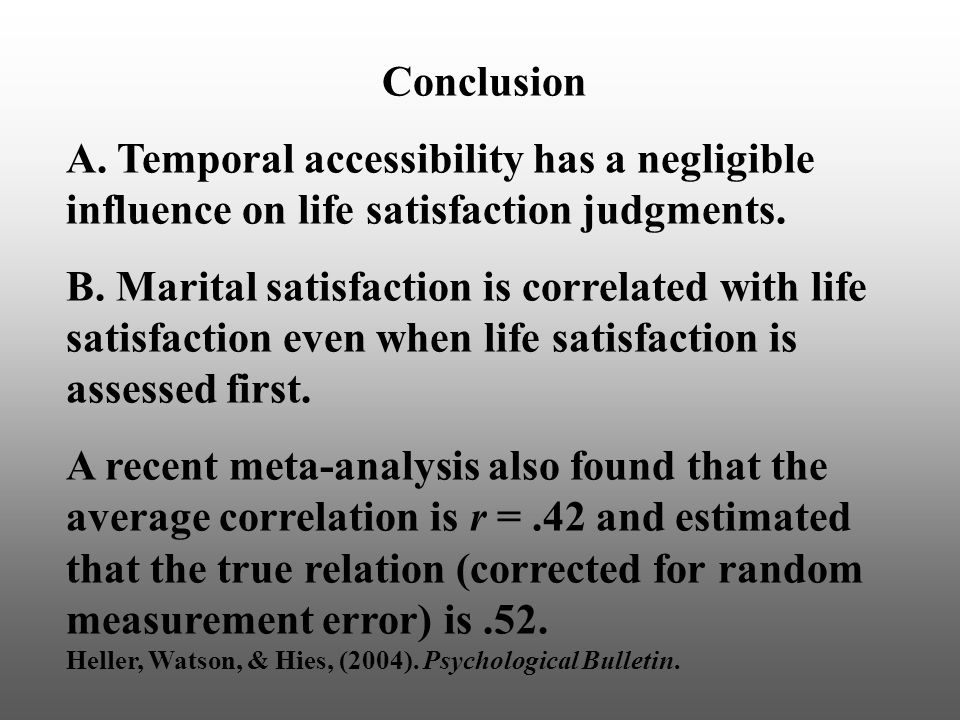 Conclusion A. Temporal accessibility has a negligible influence on life satisfaction judgments.