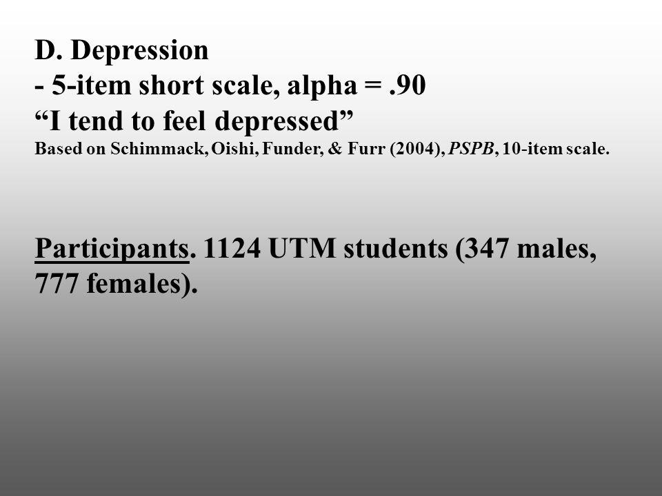 "D. Depression - 5-item short scale, alpha =.90 ""I tend to feel depressed"" Based on Schimmack, Oishi, Funder, & Furr (2004), PSPB, 10-item scale. Parti"