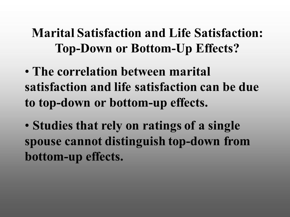 Marital Satisfaction and Life Satisfaction: Top-Down or Bottom-Up Effects.