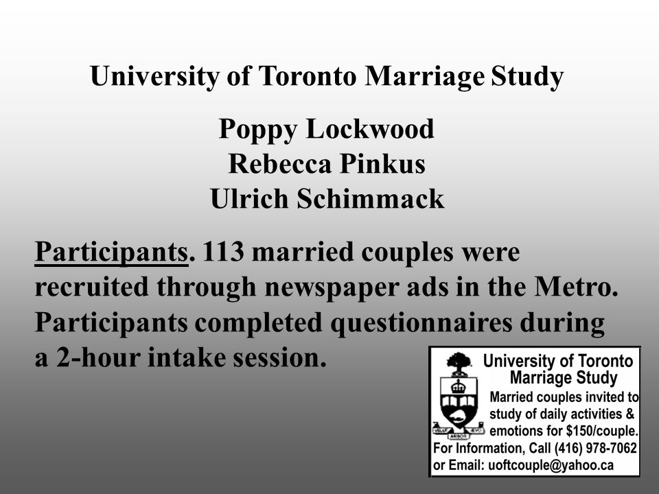University of Toronto Marriage Study Poppy Lockwood Rebecca Pinkus Ulrich Schimmack Participants.