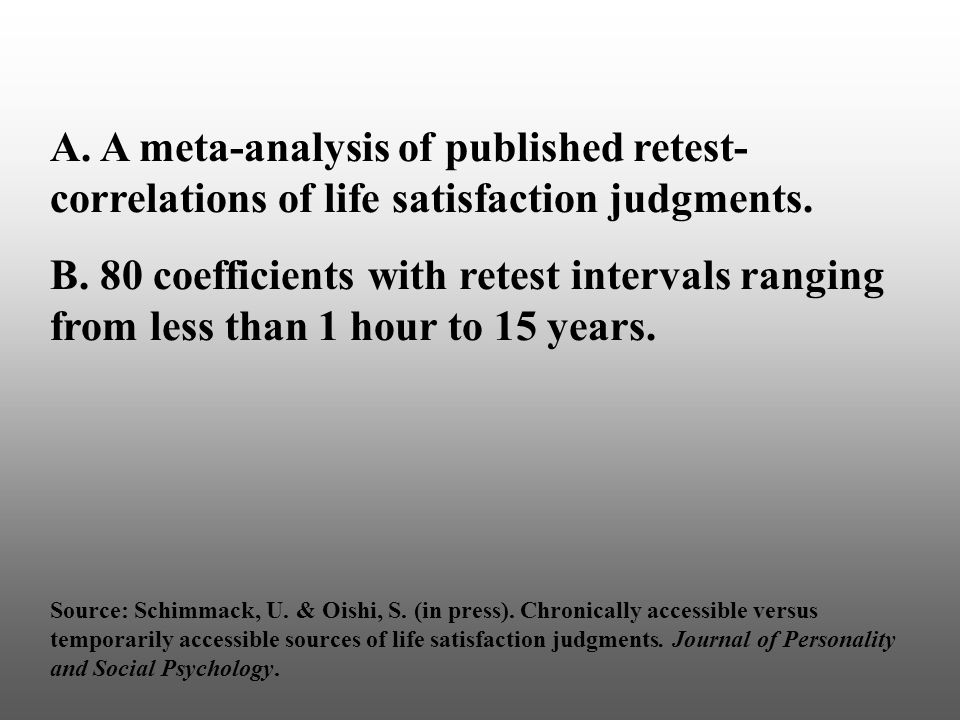 A. A meta-analysis of published retest- correlations of life satisfaction judgments.