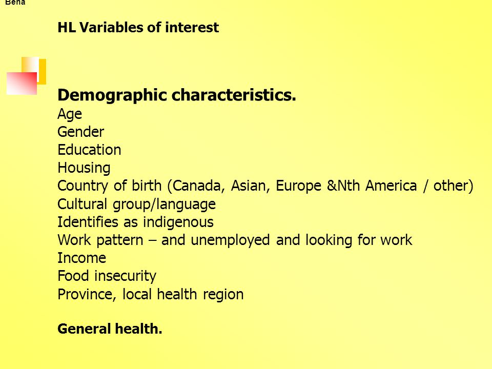 Beha HL Variables of interest Demographic characteristics.